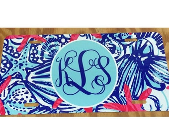 Lilly pulitzer blue shells Monogrammed License Plate personalized license plate monogrammed lilly pulitzer inspired Car Tag