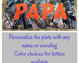 Personalized Camouflage License Plate personalized camouflage car tag New papa license plate papa car tag