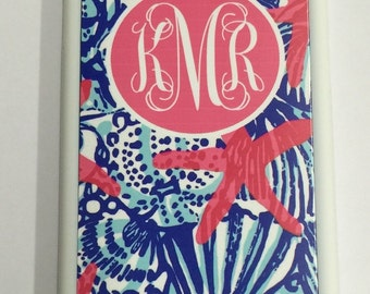Lilly Pulitzer Monogram iPhone case for 6 5 5s 6 plus 6s 6s plus blue shells Lilly Pulitzer inspired iPhone case