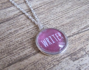 "Silver ""Writer"" Pendant Necklace - Bookish Literary Reader Gift"