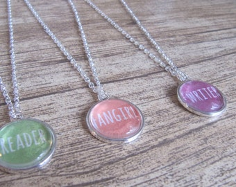Pack of 3- Reader, Writer, And Fangirl Silver Pendant Necklaces - Bookish Jewellery - Gift