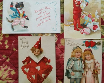 Antique Valentine Post Card Lot Clown Cat Princess Postcards