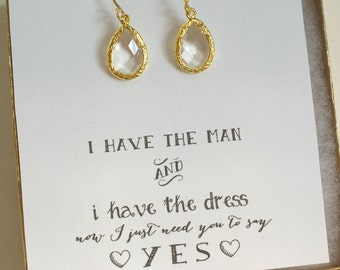 Crystal Bridal Earrings, Crystal Wedding Earrings, Crystal Drop Earrings, Bridesmaid Earrings, Gold Bridesmiad Earrings, ES1