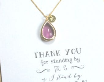 Set of 8 Purple Bridesmaid Necklace Gold Initial, Plum Gold Personalized Necklace, Bridesmaid Gift, Bridal Party Gifts, Violet necklace, HP8