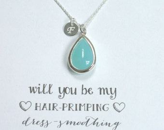 Mint Bridesmaid initial Necklace Silver, Bridesmaid Personalized Necklace, Bridesmaid Jewelry Gift, Bridesmaid Proposal Necklace, PR1, HP1