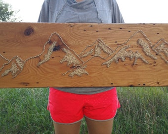 Snowy Mountain Range String Art Wood Nature Wall Decoration One-of-a-Kind Handmade