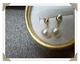 Freshwater Pearl Earrings 18Ct White & Yellow Gold Freshwater Pearl Earrings Freshwater Diamond Earrings Freshwater Cultured Pearl Earrings
