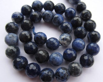 """Sodalite 10mm faceted round midnight blue beads, 15.7"""" strand (~ 38 pcs) SP10"""