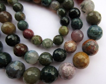 """Indian Agate 12mm faceted round gemstone beads. 1 x 15.7"""" strand SP24"""
