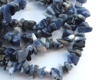 "Sodalite 6-14mm gemstone chip beads. Full 33.5"" strand SP69"
