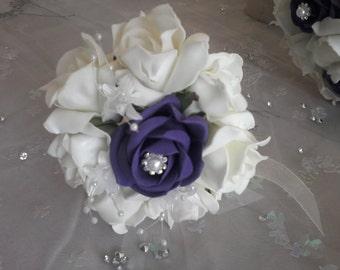Flower girl cadburys purple and ivory/white Bouquet Foam Roses