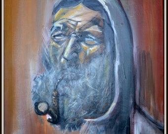 Portrait man with pipe - oil on canvas
