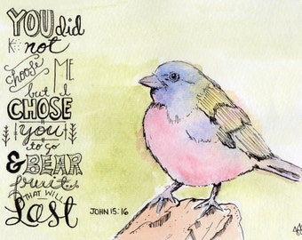 Inspirational Art Quote / Digital Print / Gift for Friend / Watercolor Bird
