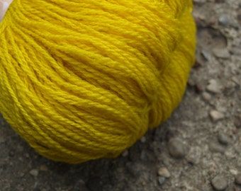 Bright Yellow 100% Natural Wool Yarn 100g