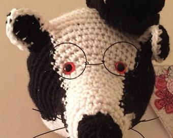 Crochet taxidermy, Burlington Bertie, badger, crochet