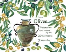 """Watercolor Olives Clipart: """"OLIVES CLIP ART"""" Olives wreaths Floral clipart Hand painted clipart amphora kitchen decor Instant download"""