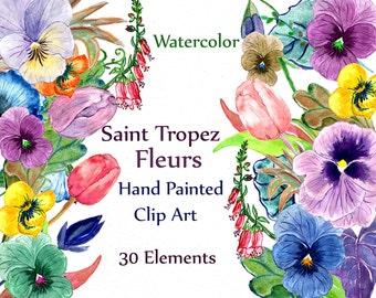 "Watercolor Flower Clipart: ""FLOWR CLIP ART"" Floral Pansy clipart Pansies Clipart Watercolor floral  diy clip art wedding invites handpaint"