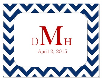 Chevron Wedding Aisle Runner PERSONALIZED CUSTOM-Monogram, Date
