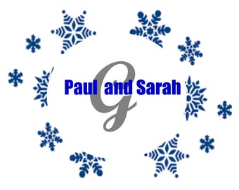Winter Wedding Aisle Runner PERSONALIZED CUSTOM-Snowflakes, Names, List name Initial