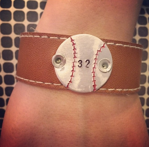 personalized baseball leather cuff bracelet by hmhappies