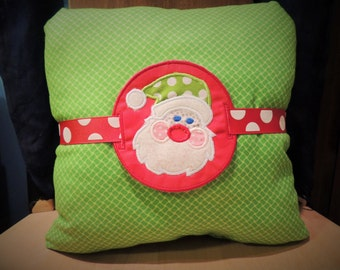 Santa Pillow with Removable Embroidered Charm