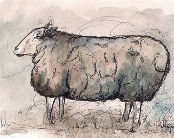 Peaceful Sheep Watercolor & Ink Print