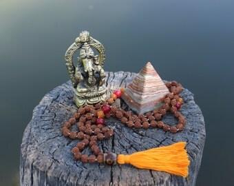 Spiritual One Mala (Rudraksha beads, Ruby gemstone, Yellow Quartz, 3 eyed Dzi guru bead)