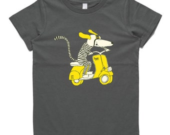 Dog riding vespa scooter, dark grey, Iggy Little, kids t-shirt