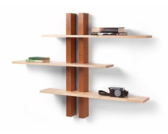Wall shelves - cherry and maple shelves handmade in the UK