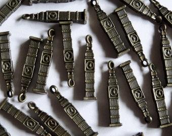 10 Antique Gold London Big Ben Metal Jewellery Charms 26x5mm