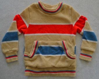 Retro Knit Sweatsuit Baby Boy Kangaroo Pocket