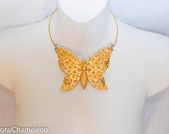 Vintage Gold Butterfly Choker Necklace