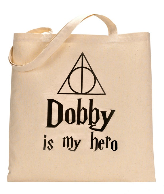 Harry Potter Tote Bag Dobby Is My Hero! Natural Cotton Canvas. Great For Gym, Yoga, PotterWorlds, Comicon, etc!