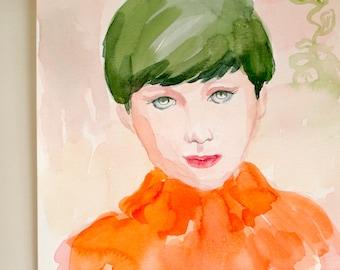 City Girl in Orange Turtleneck - Original Watercolor Portrait Painting