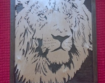 New Hand Crafted Birch - Lion Scroll Saw Picture - Stained Birch Plywood Lion And Black Painted Backboard