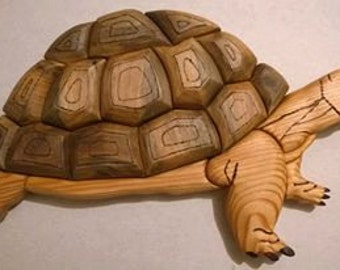 Handmade wood intarsia/ Turtle deco/Wall decoration