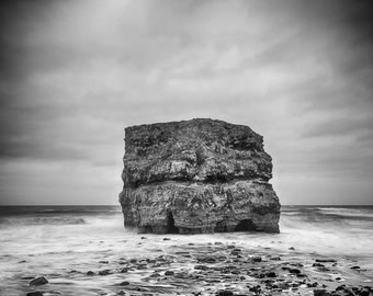 Fine Art Photograph, Black and White SeaScape - Landscape, Long Exposure,  Title: Now I Stand Alone