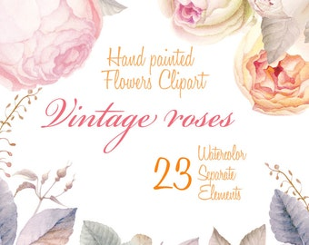 Flower Watercolour Clipart, Hand Painted Graphics -Vintage Rouses, 23 Watercolor floral Elements, diy clip art, flowers and leaves