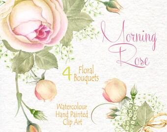 Watercolour Flower Clipart - Morning rose - Flowers Bouquets - DIY Clip Art - PNG transparent - Wedding Invitation