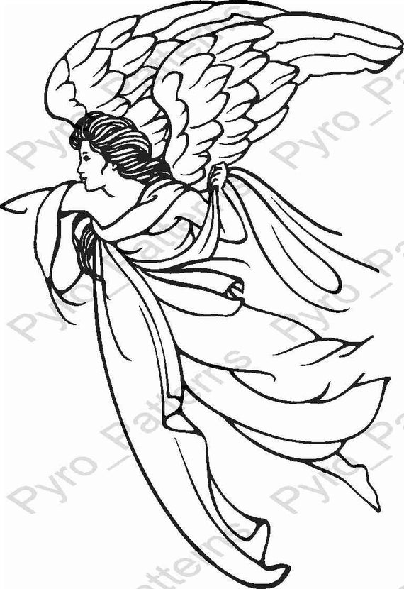Pyrography wood burning angel pattern printable stencil for Wood burning templates free download