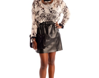 Genuine Leather Mini A-Line Skirt
