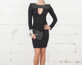Black Leather and Knit Drape Front Dress