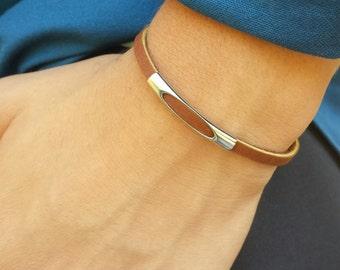FREE SHIPPING-Bracelet For Men,Men's Leather Bracelet,Unisex Leather Bracelet,Thin Brown Leather Bracelet,Slim Men Bracelet,Mens Bracelet