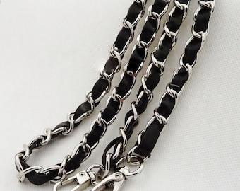 11mm Silver Chain, Golden Chain, Purse Chain, Black PU Leather Weaving Chain, Fashion Bag Chain