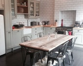 Vintage Industrial Rustic Reclaimed Plank Top Dining Top Dining Table with Hairpin Legs (Handmade UK)