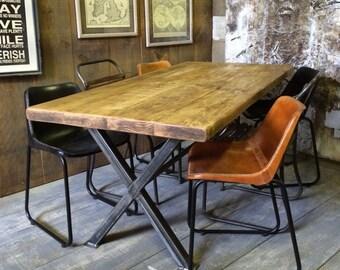 Vintage Industrial Rustic Reclaimed Plank Top Dining Table X-Frame Steel Base (Handmade UK)