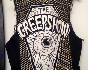 Custom Denim Studded Punk Rock Vest