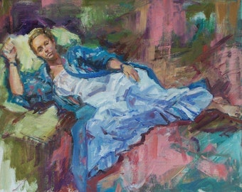 SALE, Female Figure, Oil Painting, Reclining Figure, Languid, Boudoir