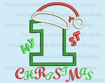 My first Christmas embroidery design, 1st xmas birthday applique download  number 1-9 selection,  chrs-119
