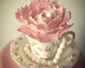 Vintage Teacup & Saucer Cake Topper-Sugar Paste